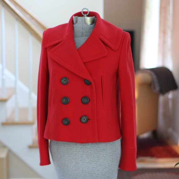 J. CREW Red Wool Pea Coat with Black Buttons